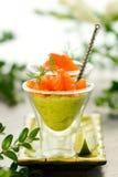 Avocado cream and salmon Stock Photography