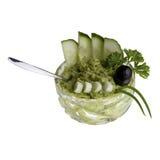 Avocado-Creme in der Cristalschüssel Lizenzfreie Stockbilder