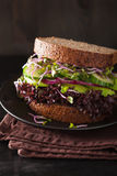 Avocado cucumber sandwich with onion and radish sprouts Stock Image