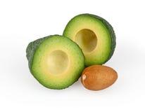 Avocado die op wit wordt geïsoleerd stock afbeelding