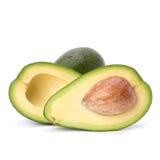 Avocado die op witte achtergrond wordt geïsoleerd Stock Afbeeldingen