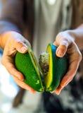 Avocado in een hand van vrouw Royalty-vrije Stock Afbeelding