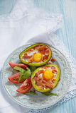 Avocado Egg Boats with bacon Stock Images