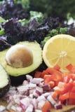 Avocado en Verse Citroen Stock Foto's