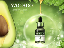 Avocado essential oil ads. Fruit anatomy on the left side and oil dripped from top isolated on bokeh green background, 3d illustration Royalty Free Stock Photos