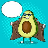 Avocado exhibitionist in raincoat pop art vector. Avocado exhibitionist in raincoat pop art retro vector illustration. Cartoon food character. Text bubble. Color Royalty Free Stock Images