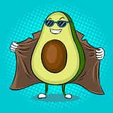 Avocado exhibitionist in raincoat pop art vector. Avocado exhibitionist in raincoat pop art retro vector illustration. Cartoon food character. Color background Royalty Free Stock Photo