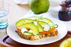 Avocado with Feta sandwich Royalty Free Stock Image