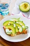 Avocado with Feta sandwich Stock Photo