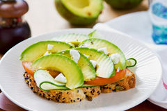 Avocado with Feta sandwich Stock Photos