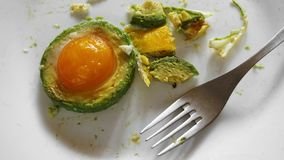 Avocado, Fried egg, Healthy breakfast, white plate stock photography