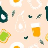 Avocado,fried egg,toast and juice seamless pattern stock illustration