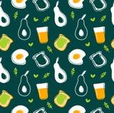 Avocado,fried egg,toast and juice seamless pattern stock illustration