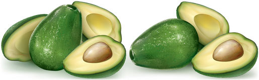 Avocado fruit and cutting half Stock Photo