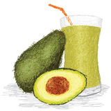 Avocado fruit juice. Closeup illustration of fresh avocado fruit and avocado juice isolated in white Stock Photo