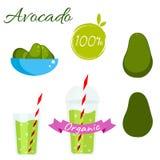 Avocado fruit and juice vector set Stock Photo