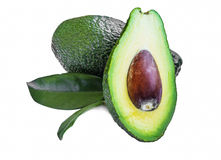 Avocado fruit with leaf isolated Royalty Free Stock Photos