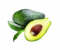 Avocado fruit with leaf isolated Royalty Free Stock Image