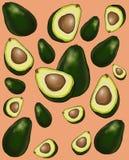 Avocado fruit pattern royalty free illustration