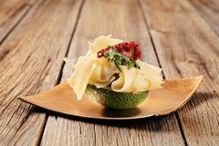 Avocado fruit and Swiss cheese Stock Image
