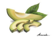 Avocado geschnitten Verziert mit Blättern vektor abbildung