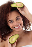 Avocado is good for my hair and skin stock images