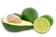 Avocado and green lemon. Stock Images
