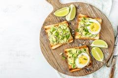 Avocado grzanki, zdrowa przekąska zdjęcia stock