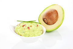 Avocado and guacamole dip isolated. Stock Photography