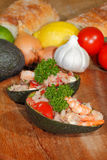 Avocado, guacamole, shrimp,tuna,salad, guacamole Stock Images