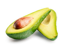 Avocado Halves. Isolated on white Stock Photography