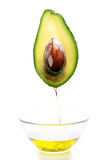 Avocado halves. Avocado halve on white background.Avocado oil Royalty Free Stock Images