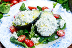 Avocado halves stuffed with cottage cheese and vegetables.  Stock Photos