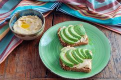Avocado Hummus Toast Royalty Free Stock Photos