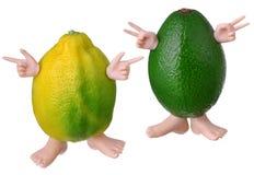 Avocado i cytryny charaktery Obrazy Royalty Free