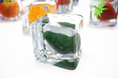 Avocado in ice cube isolated on white with depth of field effects. Ice cubes with fresh berries. Berries fruits frozen. In ice cubes. 3D rendering Royalty Free Stock Image
