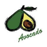 Avocado icon and .fruits icon and . Stock Images