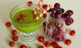 Avocado juice. Photo avocado juice, and fresh fruit with a Christmas theme Royalty Free Stock Photography