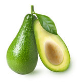 Avocado with leaf isolated Royalty Free Stock Photography