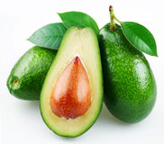 Avocado with leaves royalty free stock images