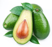 Avocado with leaves stock photo