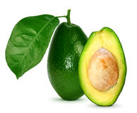 Avocado with leaves. On a white background Stock Image