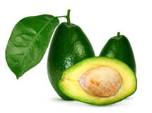 Avocado with leaves. On a white background Stock Photos