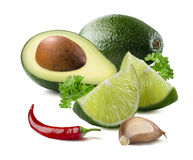 Avocado lime garlic chili guacamole ingredients  Royalty Free Stock Images