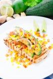 Avocado lime salmon royalty free stock images