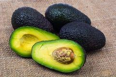 Avocado on linen napkin. Studio Photo Stock Photography