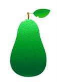 Avocado met blad en plak op witte achtergrond vector illustratie