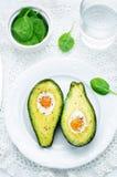 Avocado met ei wordt gebakken dat Royalty-vrije Stock Fotografie