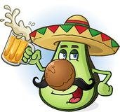 Avocado Mexican Cartoon Character Drinking Beer. A Mexican avocado cartoon character wearing a sombrero and drinking a mug of beer Stock Images