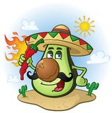 Avocado Mexican Cartoon Character a Holding Hot Chili Pepper. A Mexican avocado cartoon character in the Mexican desert with cactus holding a flaming hot red Stock Images